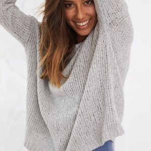 Aerie Surf Sweater Grey Chunky Knit Pullover Sz XS